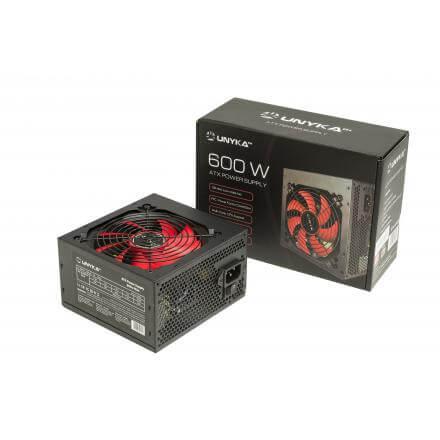 Unyka Fuente Alimentacion Atx  600w Gaming Ventilador Rojo , Negra - Imagen 1