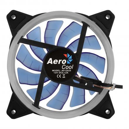 Aerocoolventilador 12x12 Ultrasilencioso Iluminacion Doble Anillo Led Azulrevblue - Imagen 1
