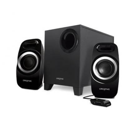 CREATIVE ALTAVOCES INSPIRE 2.1 T3300 JACK STEREO,2X5.5W,SUBWOOFER 16W RMS,MANDO CON CABLE,NEGRO - Imagen 1