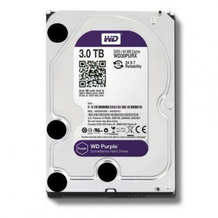 Hd Western Digital 3.5\1 3tb Purple Surveillance 64mb Wd30purz - Imagen 1