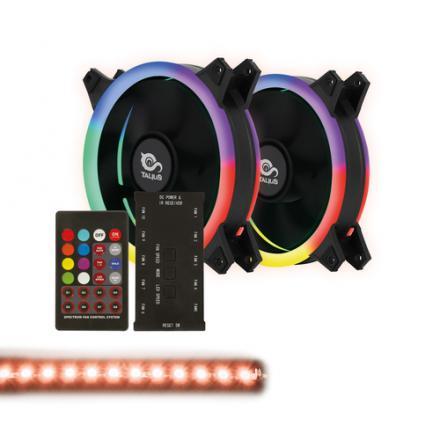 Talius Kit Siroko Spectrum (2ventiladores Doble Aro Spectrum + Tira Led + Remote Control) - Imagen 1
