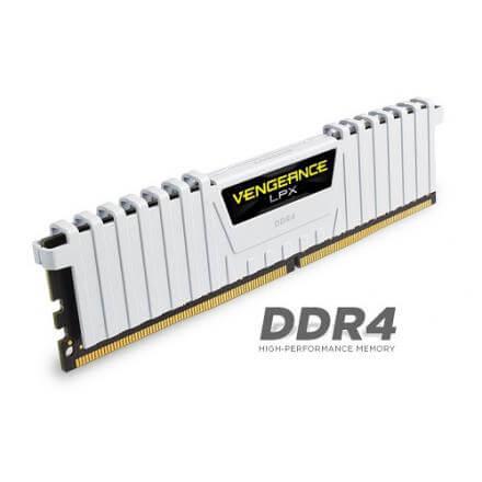 CORSAIR MEMORIA KIT DDR4  16GB(2X8GB) PC4-25600 3200MHZ VENGE BLANCA LPX - Imagen 1