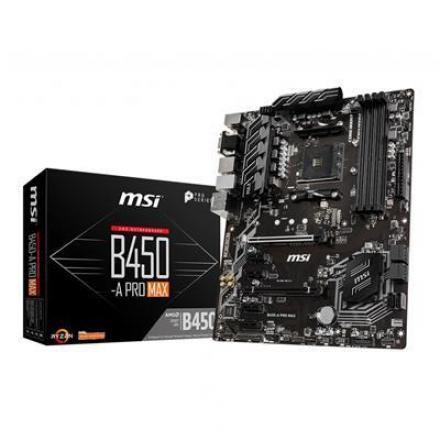 Pb Msi Am4 B450m-a Pro Max, Am4,2 X Ddr4, 1 X Pci-ex16, 1 X M.2 Slot, 4 X Sata 6gb/s - Imagen 1