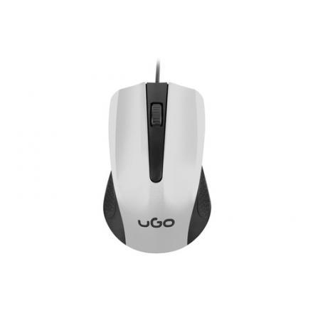 Ugo Raton Con Cable Umy Black White 1200dpi 3 Botones Usb - Imagen 1