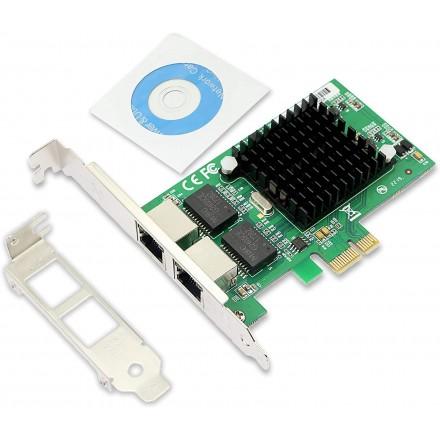CERRXIAN PCIe Dual 10/100/1000 Gbps Ethernet Server Adapter Converter (chipset Intel 82575), RJ45 LAN