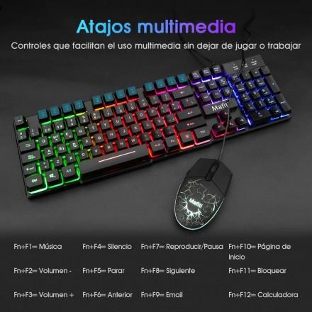 Mafiti RK101 Combo Ratón y Teclado USB ,Retroiluminación Rainbow LED y sensación de teclado mecánico