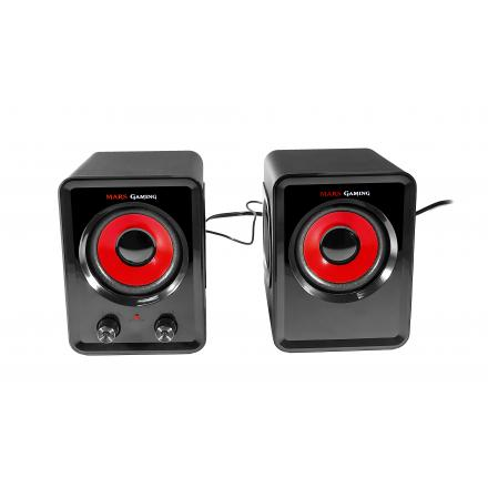 MARS GAMING ALTAVOCES 2.0 MS3 15W RMS USB VIBRO-SUBWOOFER ULTRA BASS COLOR NEGRO Y ROJO - Imagen 1