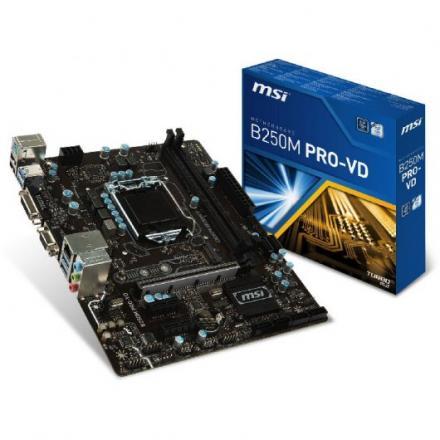 PB MSI 1151 B250M PRO-VD MATX,2DDR4,6SATA III,DVI,VGA,4USB3 - Imagen 1