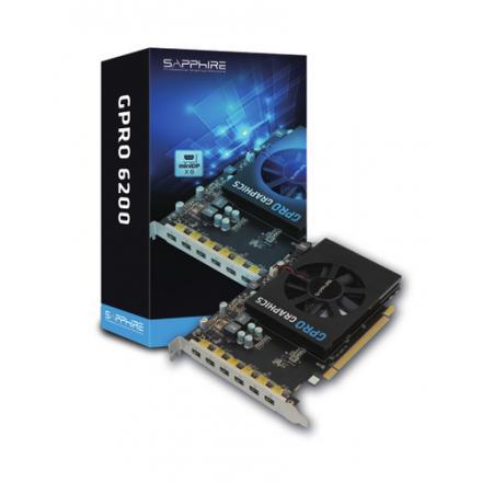 Vga Sapphire Gpro 6200 4g Gddr5 Pci-e Eyefinity 6 Edition Brown Box Hexa Minidp - Imagen 1