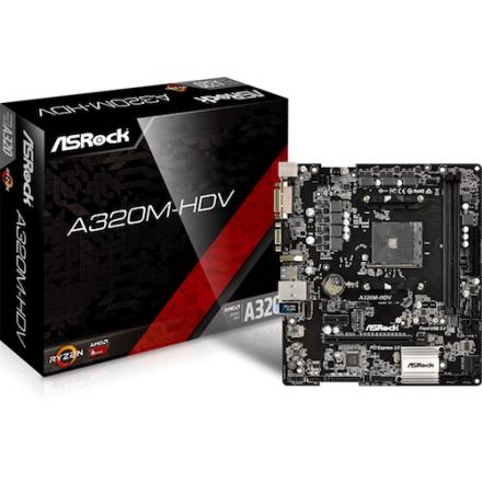 PB AMD SAM4 ASROCK A320M-HDV 2DDR4 PCIE 4SATA3 2PCI HDMI DVI mATX - Imagen 1