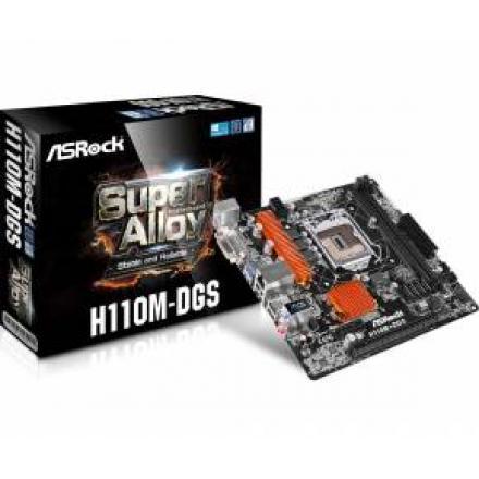 PB S1151 ASROCK H110M-DGS R3.0 2DDR4/PCIE/6SATA3/4USB3/2PCI/DVI/mATX - Imagen 1